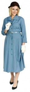 40s blue day dress