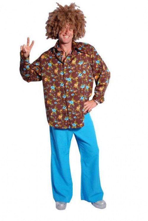 Brown_Floral_Shirt_Blue_Flares