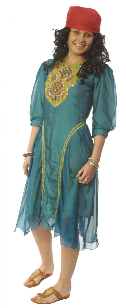 Gypsy_Girl_Teal_Gold_Dress