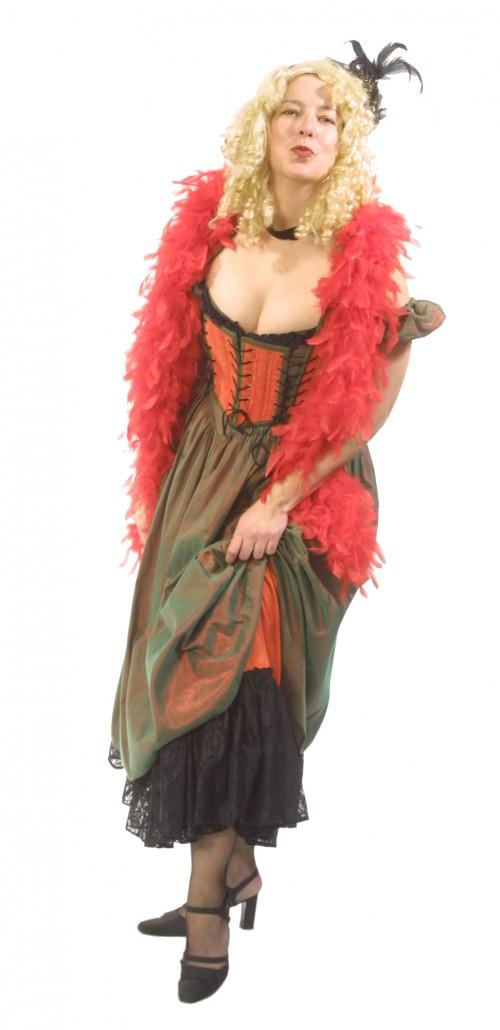 Saloon_Girl_Orange_Green_Dress