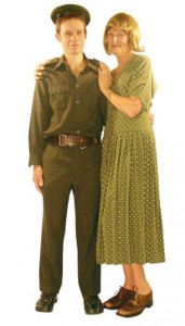 khaki male cadet and 40s dress