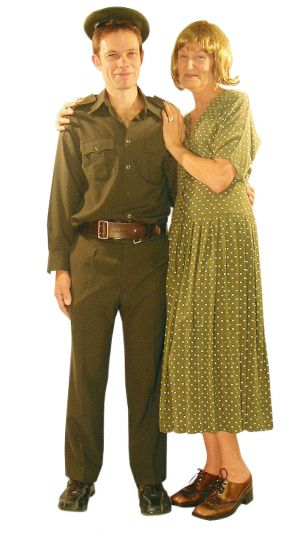 khaki male cadet and 40s dress