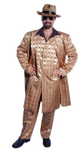 pimp daddy gold check 3 piece suit